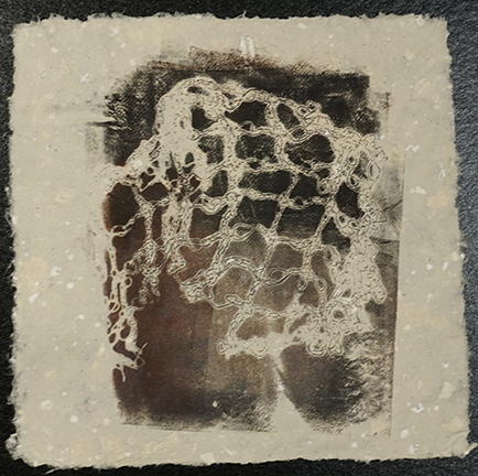 Gelatin plate monoprint. Ink on handmade hemp paper with recycled paper, 8 in. x 11 in. $100